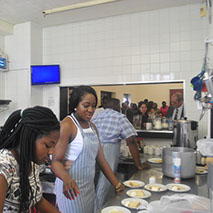 Yomi Adeoye and the King's Kitchen team preparing us a delicious meal